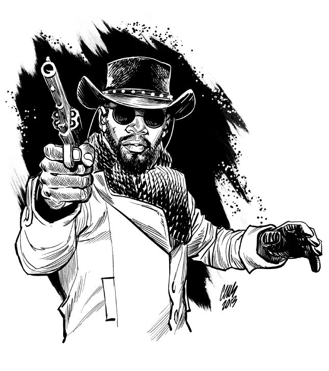 Unchained clipart black and white image black and white stock Django Unchained - Cameron Stewart | Random Ish in 2019 ... image black and white stock
