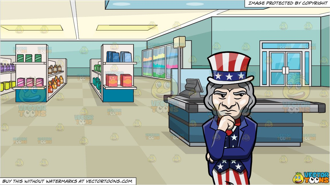 Uncle sam pickpocket clipart image black and white A Wondering And Questioning Uncle Sam and Supermarket Aisles And Checkout  Counter Background image black and white