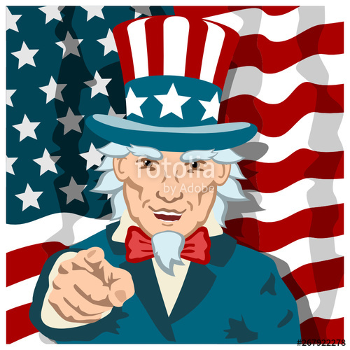 Uncle sam pointing finger clipart svg free library Cheerful Uncle Sam is smiling and pointing a finger at you ... svg free library