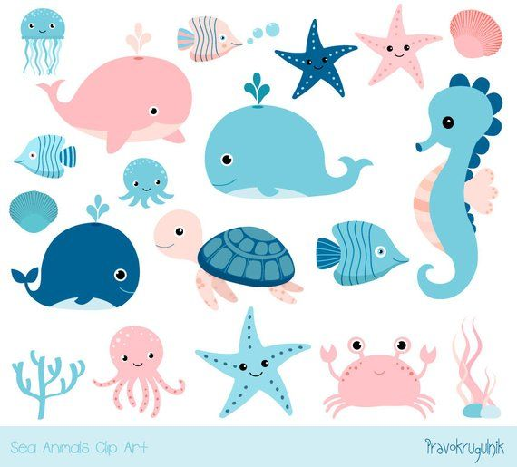 Under sea clipart picture stock Cute sea animal clipart, Kawaii ocean clipart, Baby girl ... picture stock