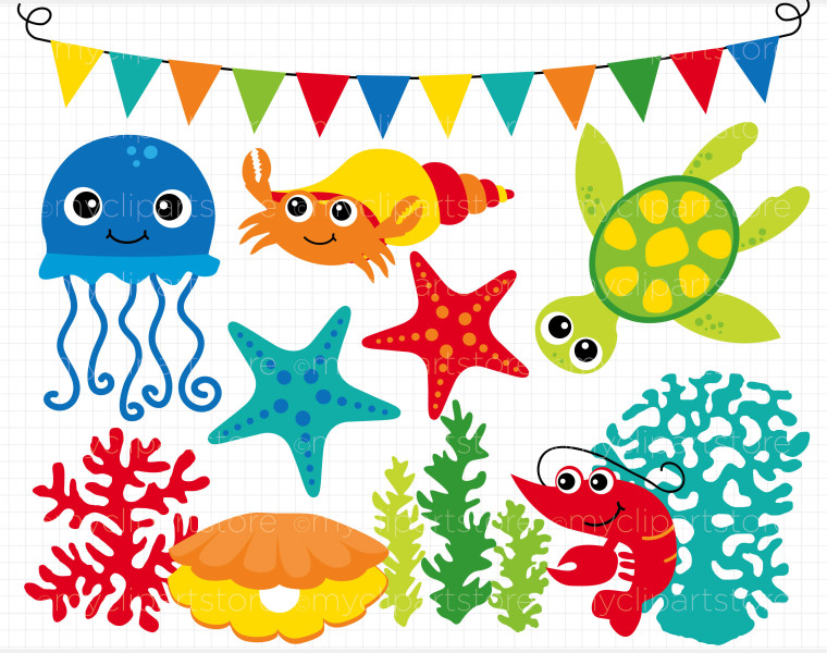 Under the sea frame clipart
