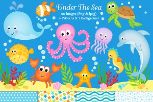 Under the sea animals clipart picture free library Under The Sea Clipart & Paper picture free library