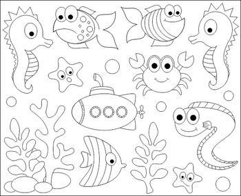 Under the sea clipart black and white picture freeuse stock Under the sea clipart black and white 2 » Clipart Station picture freeuse stock