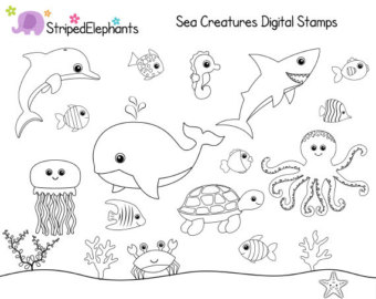 Under the sea creatures black and white clipart clipart royalty free download Under the sea clipart black and white 7 » Clipart Station clipart royalty free download