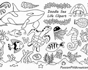 Under the sea clipart black and white vector free Under The Sea Clipart Black And White (100+ images in ... vector free