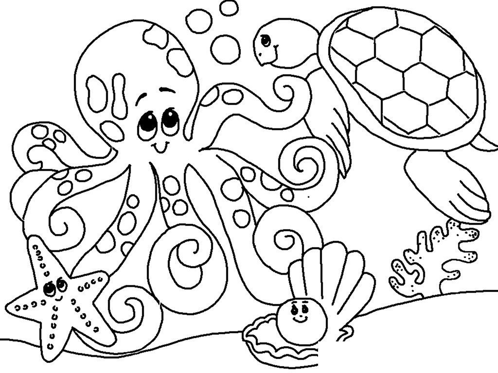 Under the sea clipart coloring graphic library download coloring ~ Free Sea Animals Coloring Pages For Adults ... graphic library download