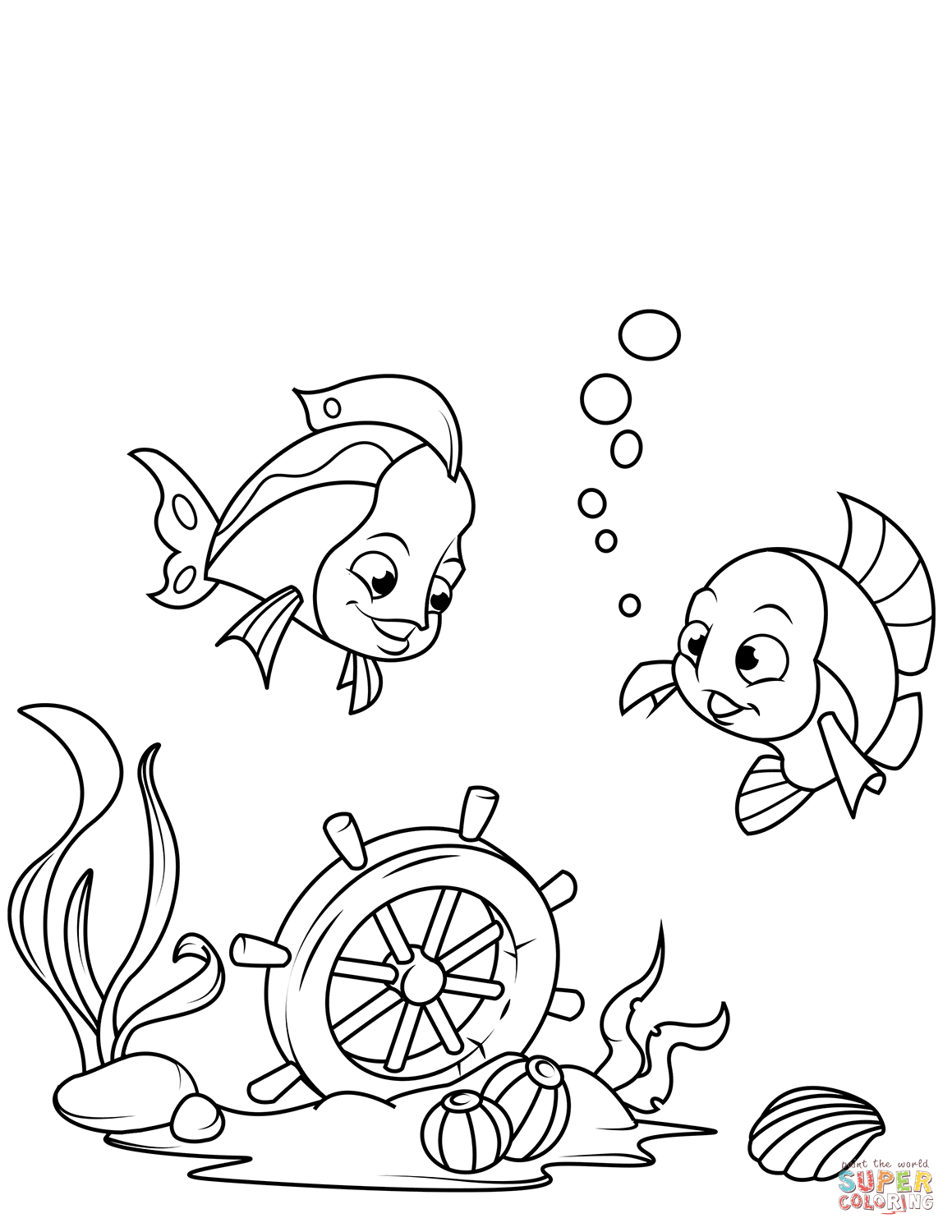 Under the sea clipart coloring picture freeuse library Ship\'s Wheel on Sea Bottom coloring page   Free Printable ... picture freeuse library