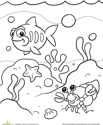 Under the sea clipart coloring jpg freeuse library Under the Sea Coloring Page   Mermaid Party   Preschool ... jpg freeuse library