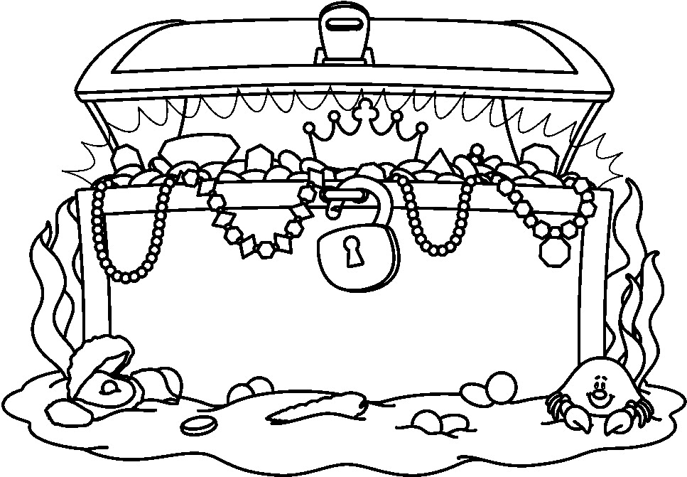 Under water treasure chest clipart black and white vector freeuse stock Treasure chest treasure black and white clipart 3 - WikiClipArt vector freeuse stock