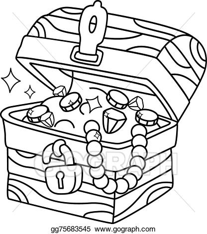 Under water treasure chest clipart black and white clipart freeuse library Vector Art - Coloring page treasure chest. EPS clipart ... clipart freeuse library
