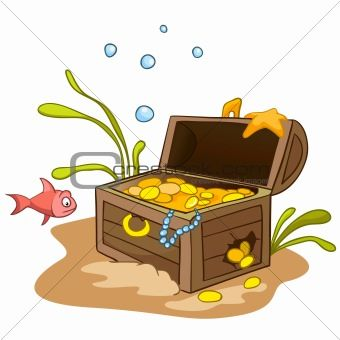 Under water treasure chest clipart black and white black and white library Underwater Treasure Chest Clip Art office|in your house|in ... black and white library