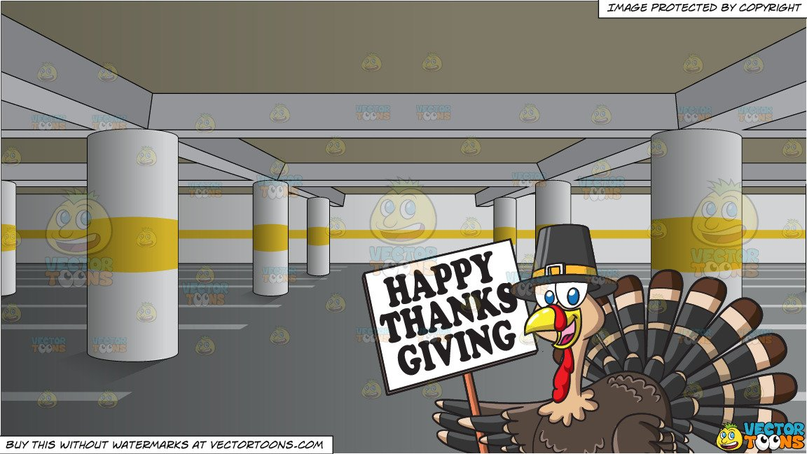 Undercover turkey clipart svg black and white A Turkey Holding A Thanksgiving Sign and An Empty Underground Parking Lot  Background svg black and white