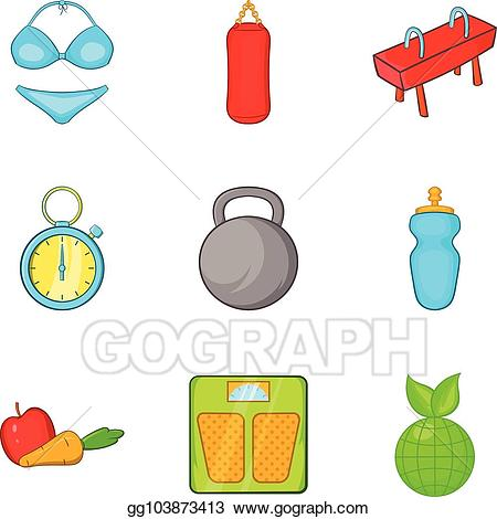 Undergo clipart clip art black and white download Vector Stock - Undergo icons set, cartoon style. Clipart ... clip art black and white download