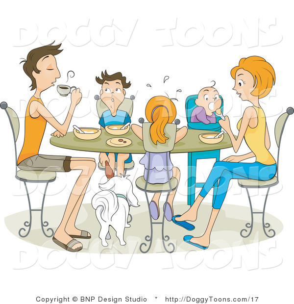Underneath clipart graphic transparent Vector Doggy Clipart of a Family Dining Around a Table with ... graphic transparent