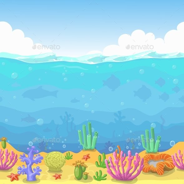 Underswater clipart clip art royalty free Seamless Underwater Landscape in Cartoon Style by lightgirl ... clip art royalty free