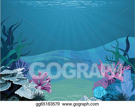 Underwater scene clipart vector freeuse download EPS Illustration - underwater landscape. Vector Clipart ... vector freeuse download