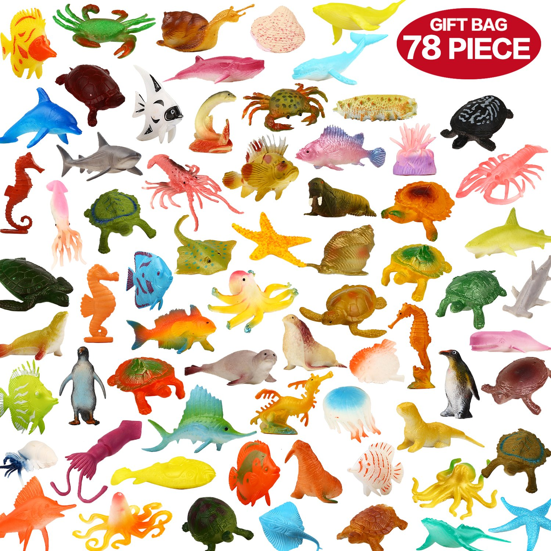 Underwater sea creatures clipart clipart black and white stock ValeforToy Ocean Sea Animals, 78Piece Mini Sea Life Creatures Toys Set,  Plastic Underwater Sea Animals Learning Toys for Boys Girls Kids Toddlers  ... clipart black and white stock