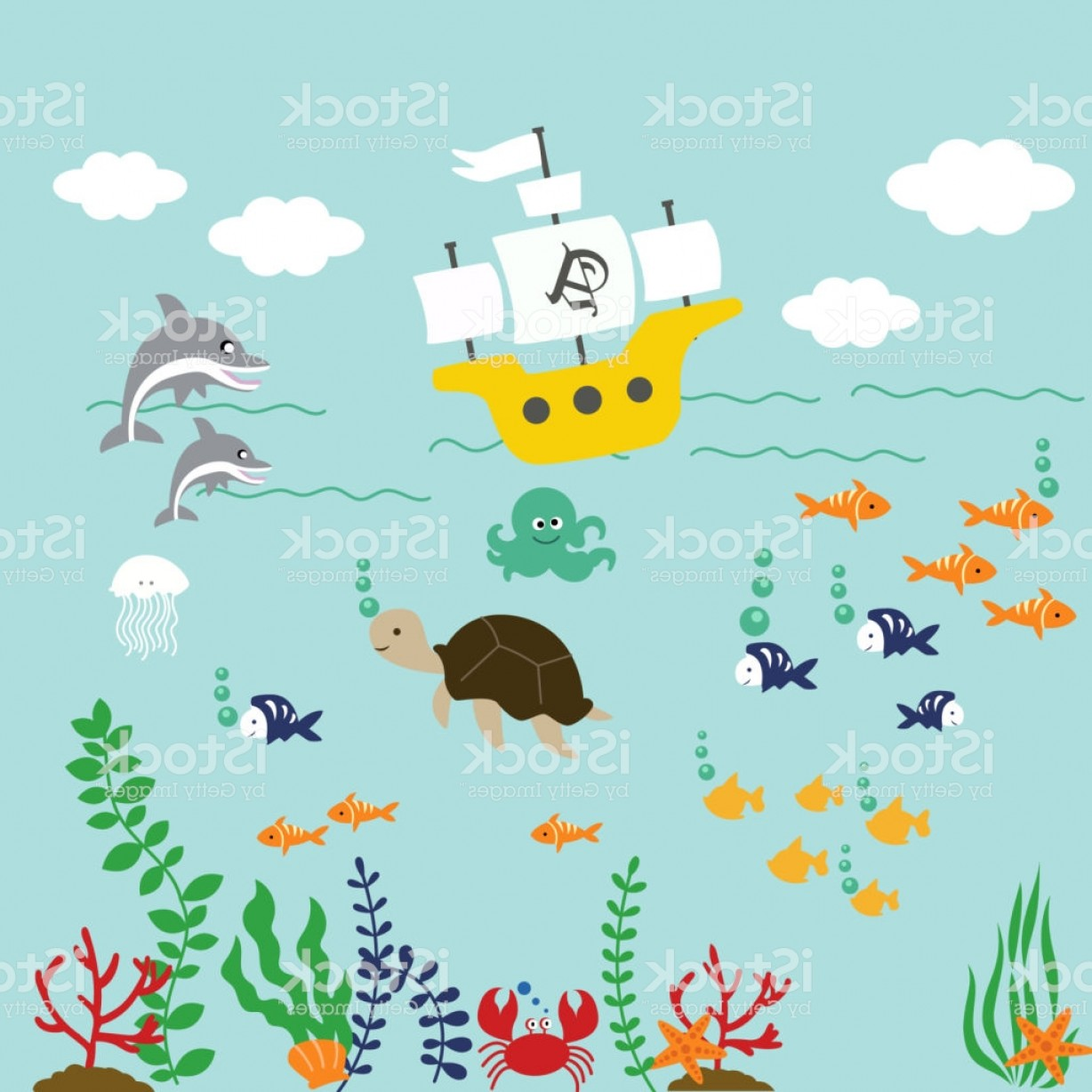 Underwater world clipart clipart royalty free download Cartoon Underwater World With Fish Plants And Ship Vector ... clipart royalty free download