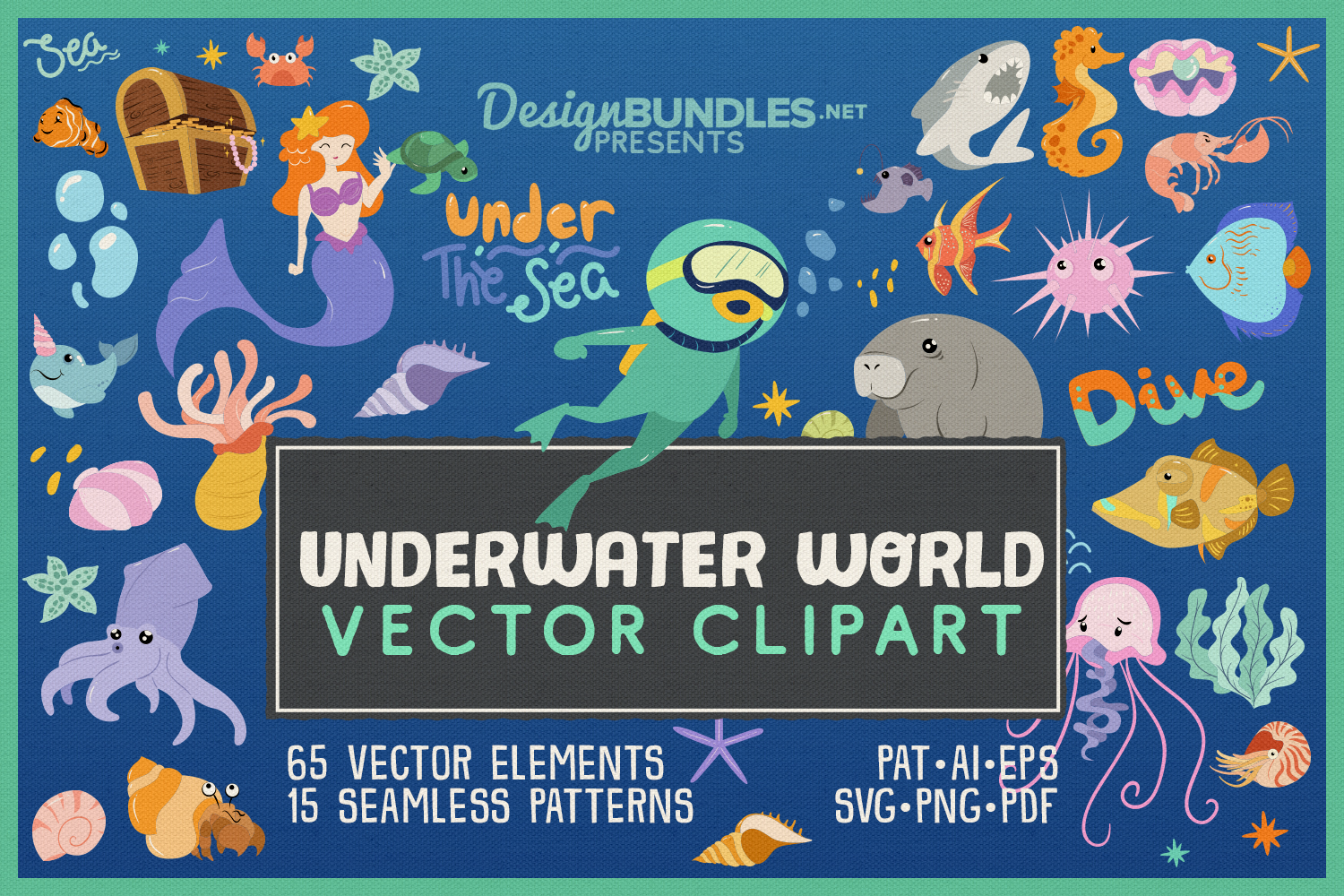 Underwater world clipart banner transparent stock Underwater World 65 Vector Clipart & Seamless Patterns banner transparent stock