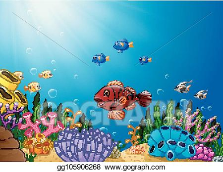 Underwater world clipart clip art transparent download Vector Stock - Cartoon tropical fish with beautiful ... clip art transparent download