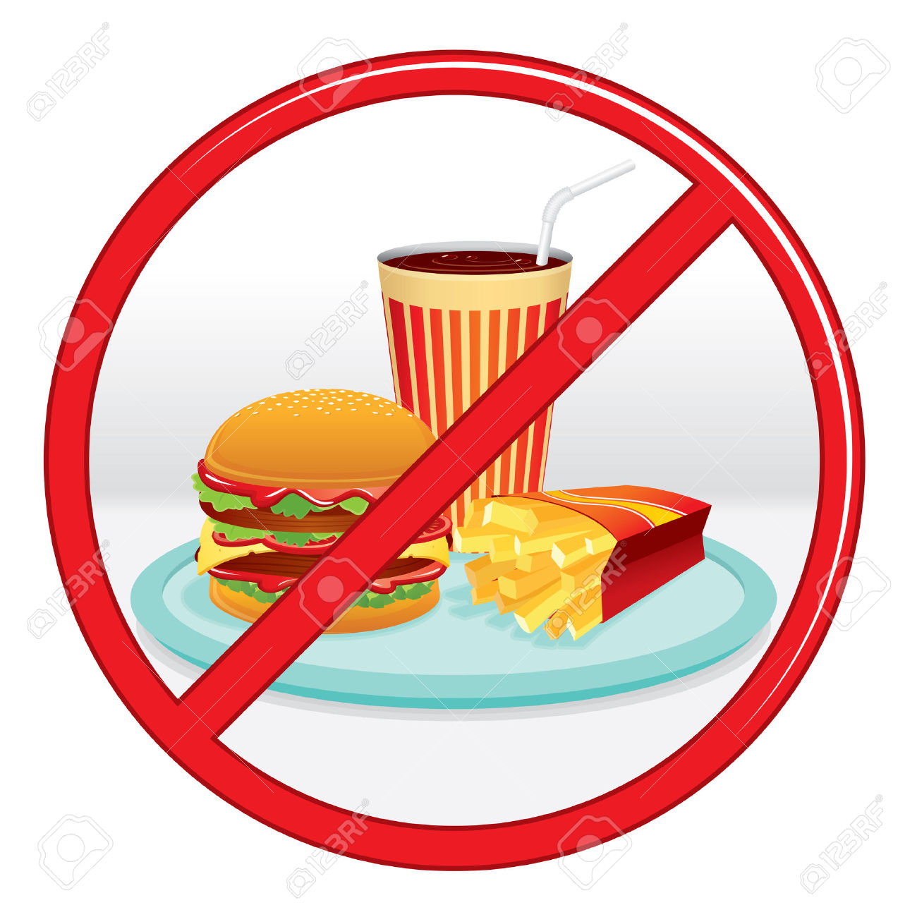 Ungesundes essen clipart image Kein Fast Food, Verbotszeichen. Vektor-Label. Lizenzfrei Nutzbare ... image