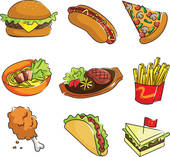 Ungesundes essen clipart clip transparent stock Clipart of American food icons k17507614 - Search Clip Art ... clip transparent stock