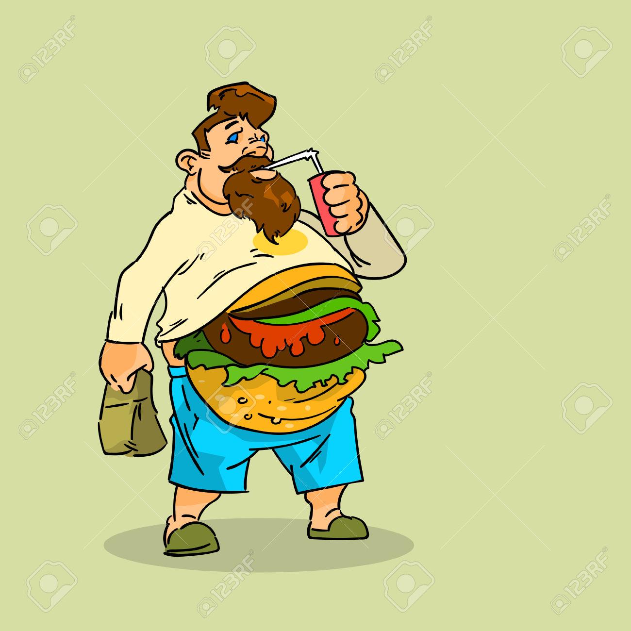 Ungesundes essen clipart vector royalty free stock Fat Man Essen Burger Sandwich-Soda-Getränk Junk Ungesundes Fast ... vector royalty free stock