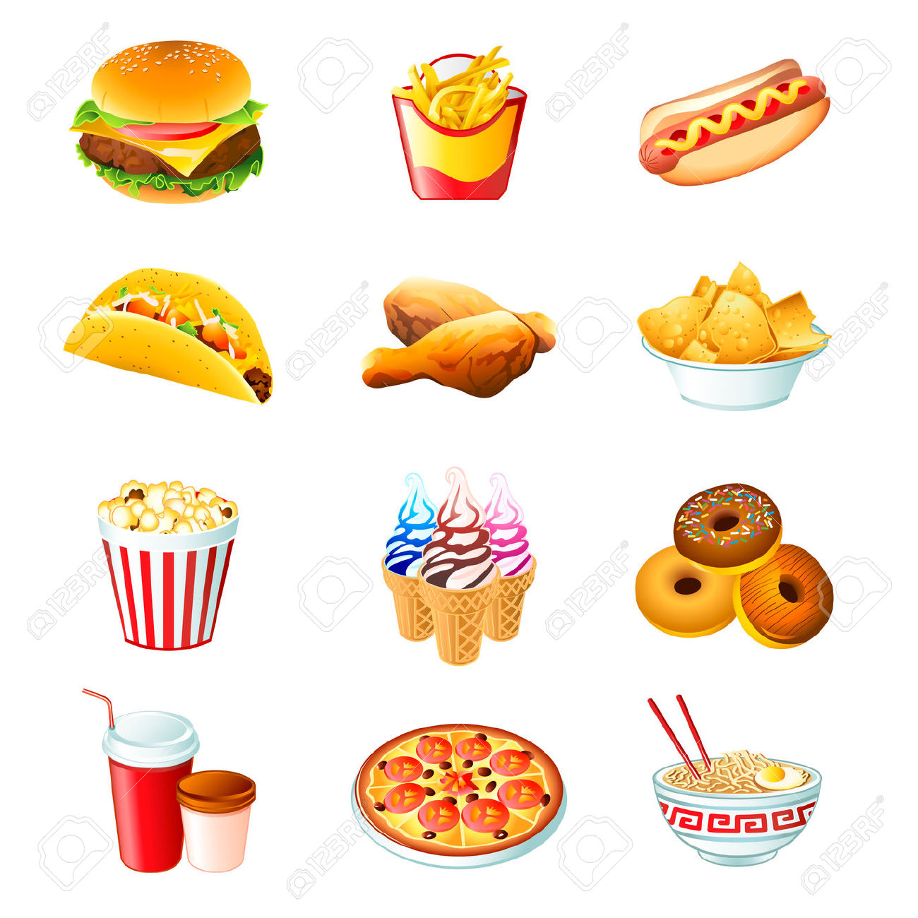 Ungesundes essen clipart clip art black and white Colorful Icons Mit Fast-Food-essen Isoliert Lizenzfrei Nutzbare ... clip art black and white