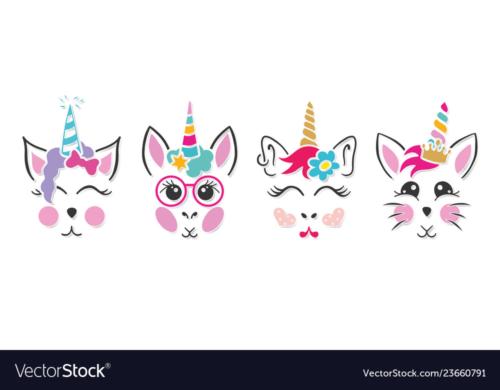 Unicorn bunny clipart image black and white stock Unicorn cat bunny faces image black and white stock