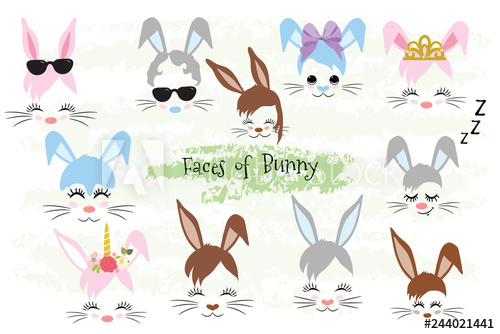 Unicorn bunny clipart graphic library library Happy Easter Bunny face Clipart brown, gray, blue, pink ... graphic library library
