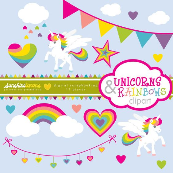 Unicorn clipart printable clip Unicorns and Rainbows Clipart Unicorn Clipart by SunshineLemons ... clip