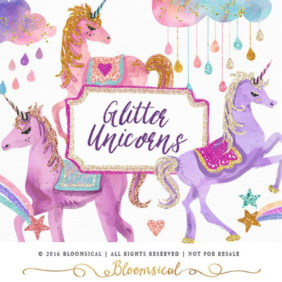 Unicorn clipart printable vector royalty free download Glitter Unicorns Clip Art | Glam unicorn, clouds, stars, rainbow ... vector royalty free download