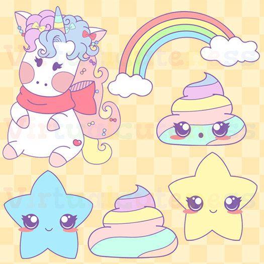 Unicorn clipart printable freeuse Kawaii Unicorn Clipart- Pastel Magical Rainbow, Cute Poop Clip Art ... freeuse