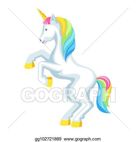Unicorn clipart with colorful mane free download Vector Art - Fantasy pretty white unicorn with colorful mane ... free download