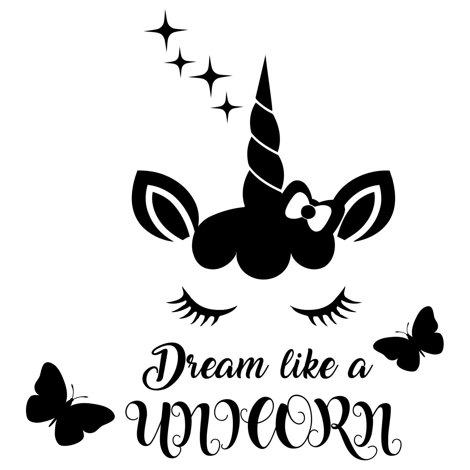 Unicorn face with butterfly clipart download Amazon.com: Quote Dream like a Unicorn. Butterfly Decal ... download