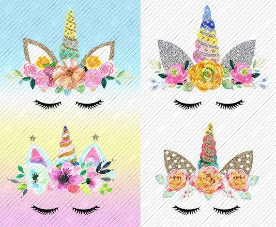 Unicorn face with butterfly clipart clipart transparent download watercolor Unicorn Clipart. Unicorn Printable. Golden ... clipart transparent download