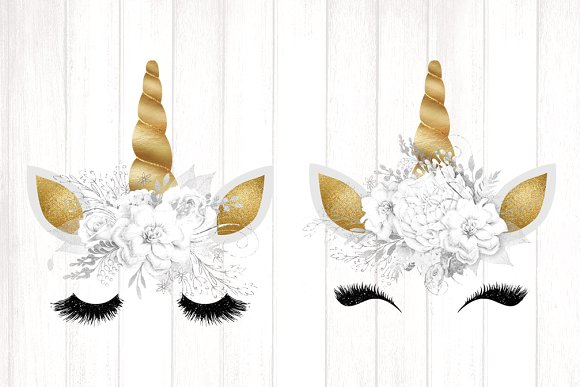 Unicorn face with butterfly clipart svg black and white library Gold Unicorn Faces Clipart svg black and white library