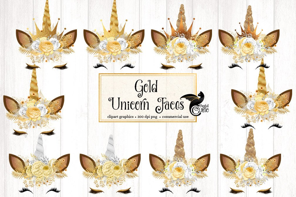 Unicorn face with butterfly clipart vector freeuse library Gold Unicorn Clipart vector freeuse library