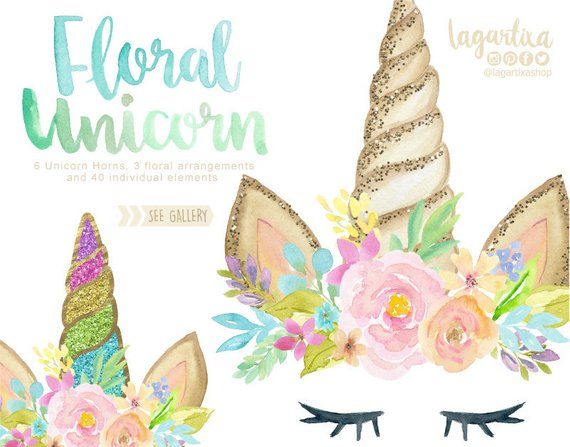 Unicorn flower crown clipart etsy vector library Watercolor Unicorn at PaintingValley.com | Explore ... vector library