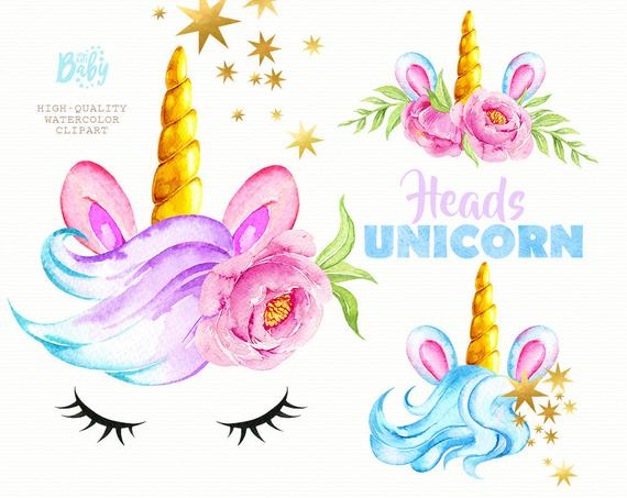 Unicorn flower crown clipart etsy clipart transparent library Unicorn Heads. Watercolor magical clipart, gold, stars ... clipart transparent library
