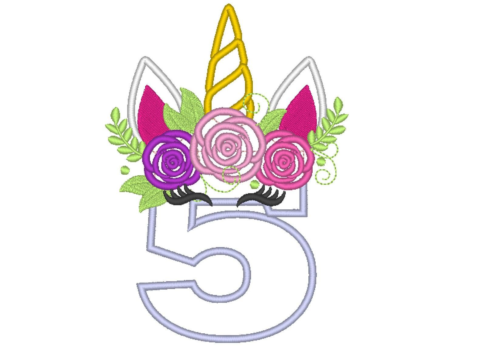 Unicorn flower crown clipart etsy banner free Unicorn numbers with roses crown Unicorn Birthday numbers ... banner free