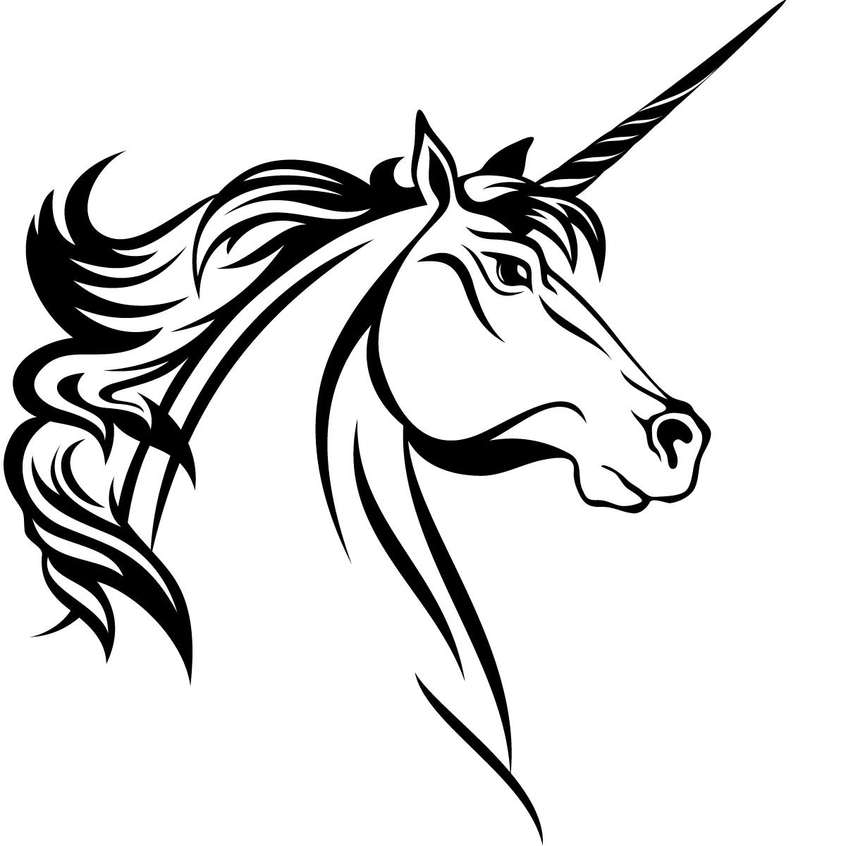 Unicorn head clipart free black and white