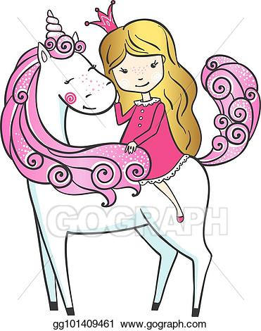 Unicorn princess clipart image free stock Vector Art - Cute hand drawn unicorn with little princess ... image free stock