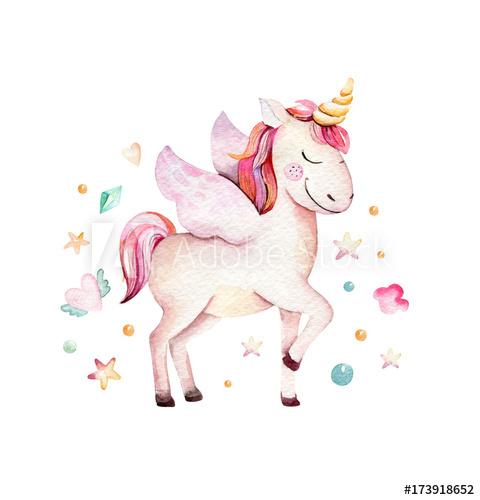 Unicorn princess clipart graphic free stock Isolated cute watercolor unicorn clipart. Nursery unicorns ... graphic free stock
