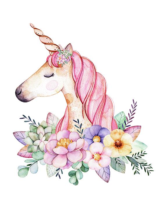 Unicorn watercolor clipart black and white Magical Watercolor Unicorn Carry-all Pouch black and white