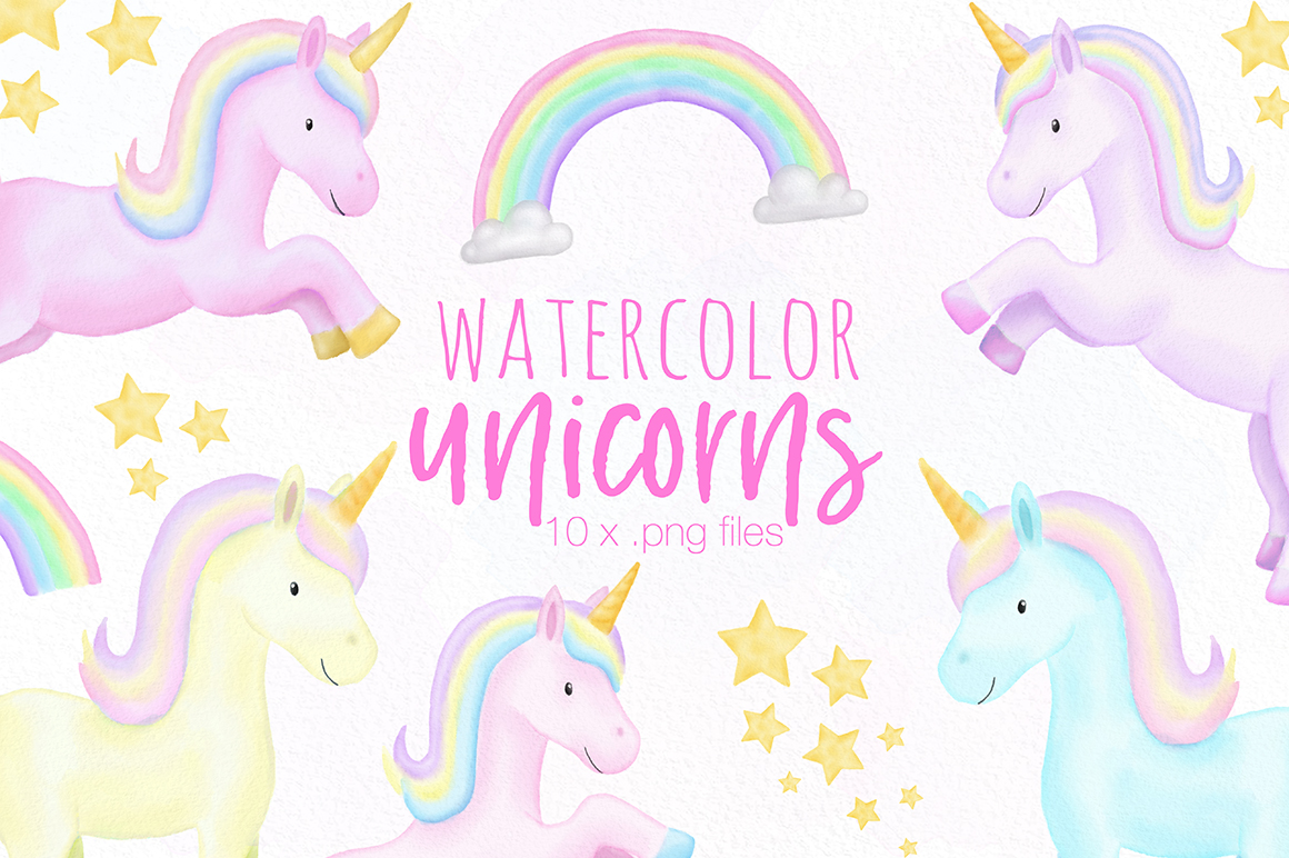 Unicorn watercolor clipart png stock Unicorn Watercolor Illustrations png stock