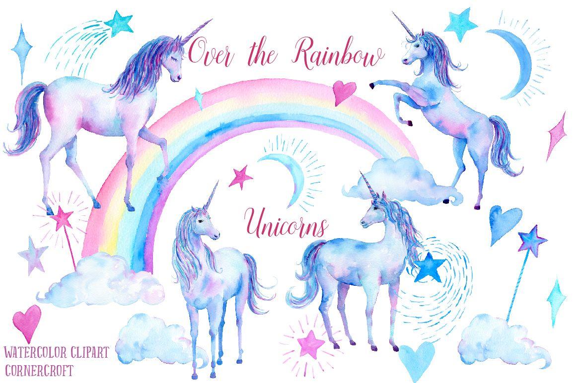 Unicorn watercolor clipart vector transparent download Watercolor Over the Rainbow Unicorn Clipart vector transparent download
