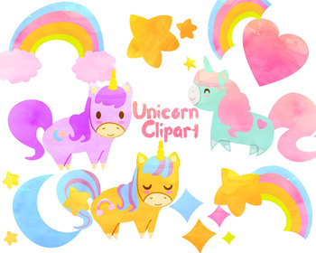 Unicorn watercolor clipart freeuse download Cute Unicorn clip art, Watercolor clipart for personal and commercial use freeuse download