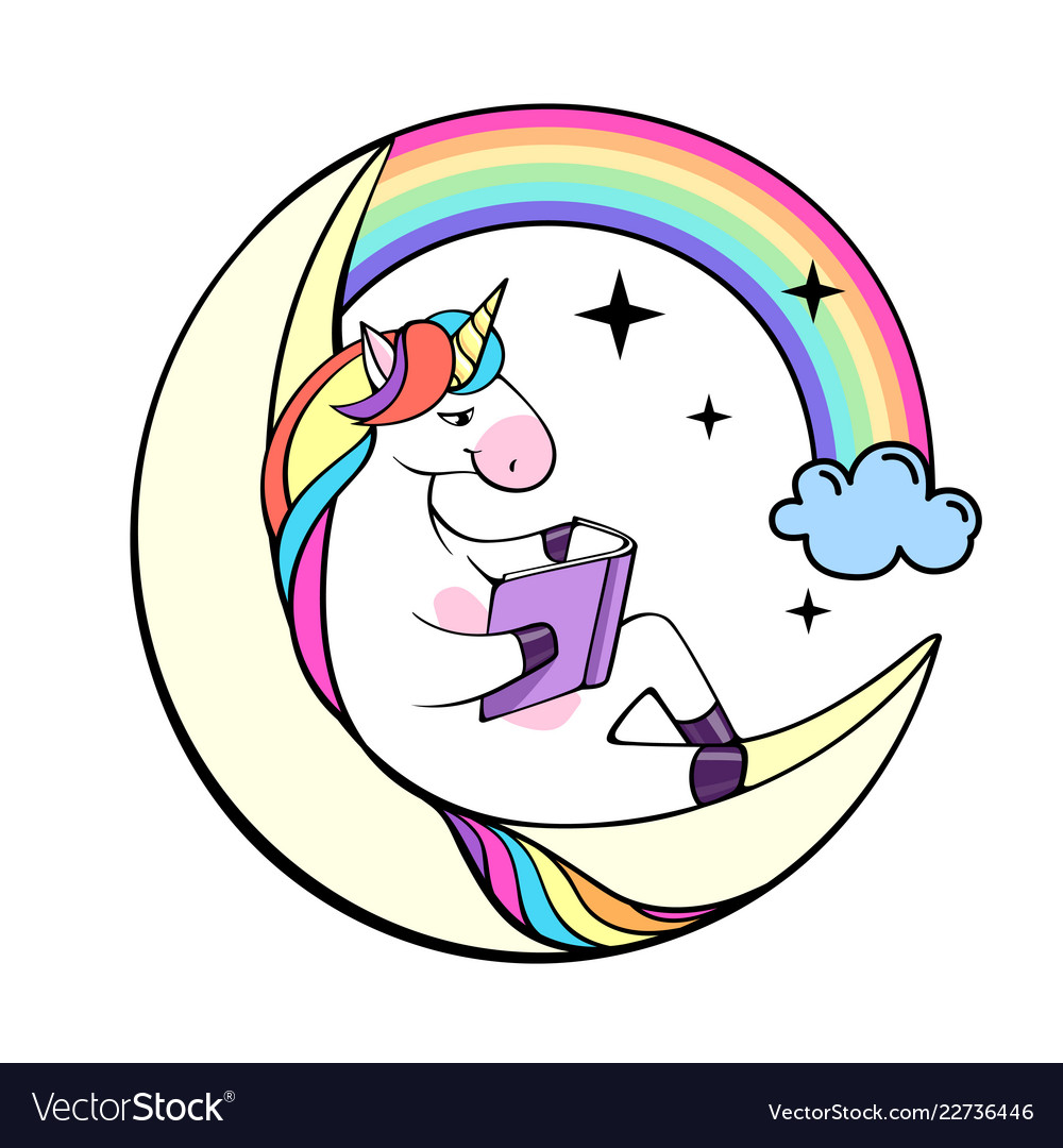 Unicorn with book clipart vector free download Fantasy unicorn reading book on the moon vector image vector free download