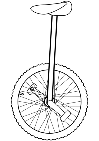 Unicycle clipart black and white image free stock Unicycle coloring page | Free Printable Coloring Pages image free stock